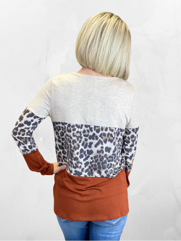 Rust Colorblock & Leopard Top