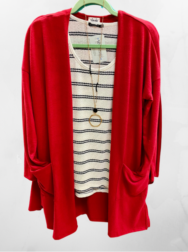 Cherry Red Cardigan