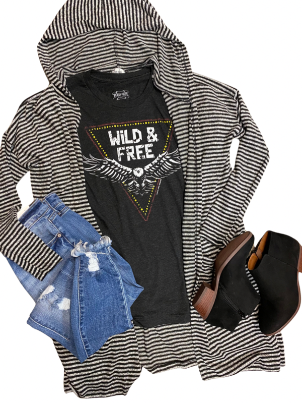 Black & Grey Striped Hooded Cardi