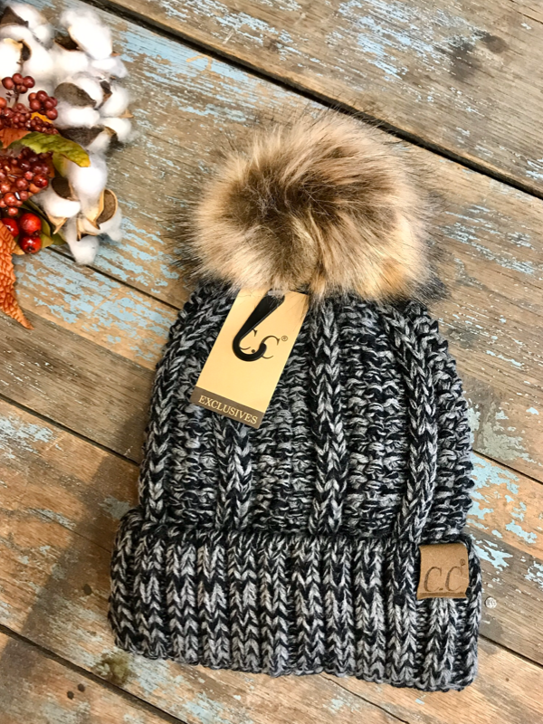 CC Fleece Lined Beanie with Pom Pom (Multiple Options)