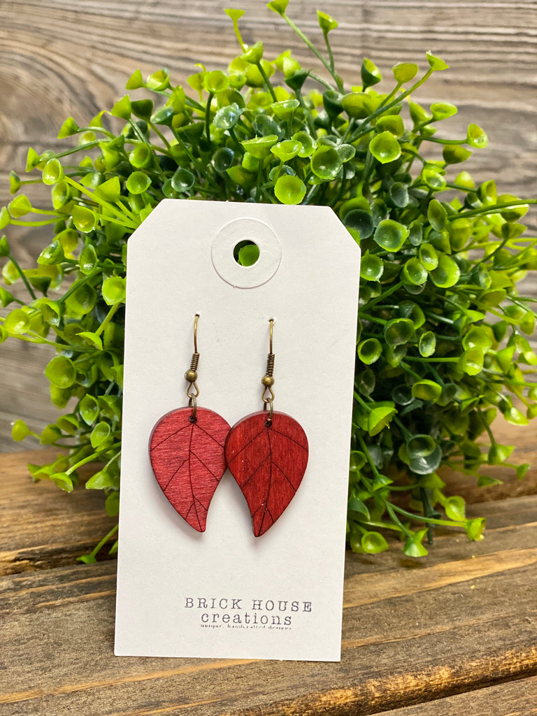 Brick House Creations Crimson Leaf Wooden Earrings