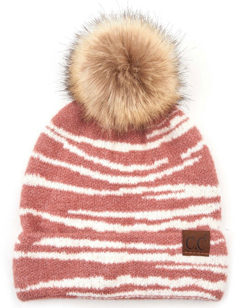 CC Zebra Pattern Knit Beanie with Pom (Multiple Colors)