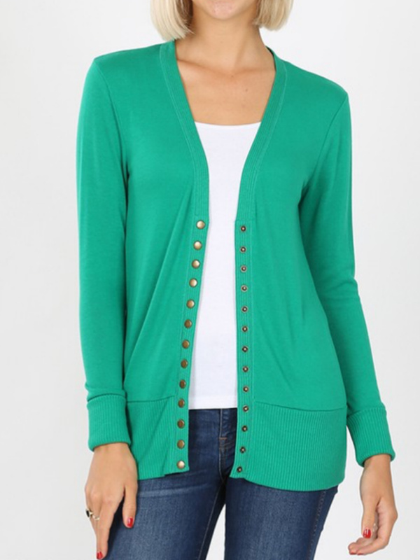 Snap Front Cardigan - Kelly Green