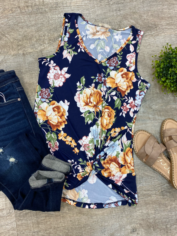 Navy Floral Tank with Front Twist
