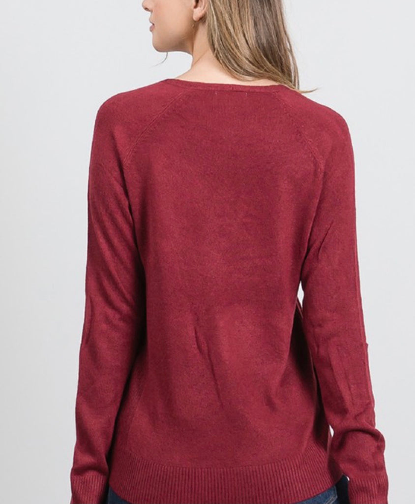 Wine Fine Knit Sweater
