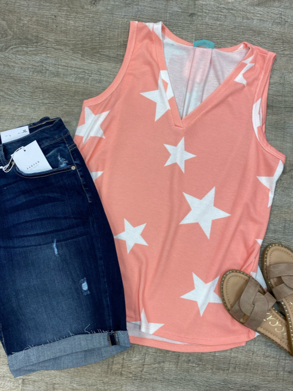 Light Coral Star Print Tank Curvy