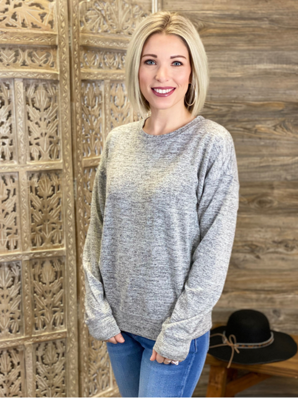Heather Grey Basic Hacci Sweatshirt