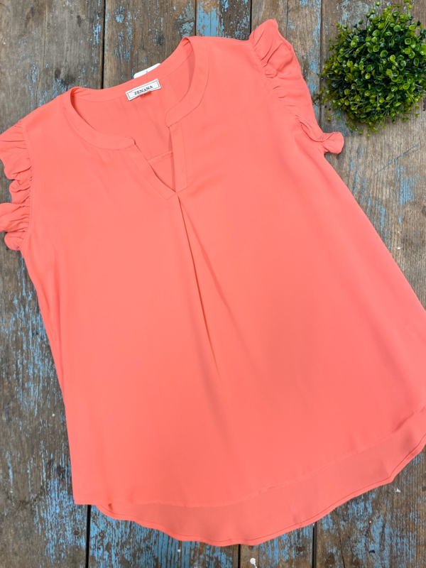 Coral Ruffled Sleeve High-Low Top