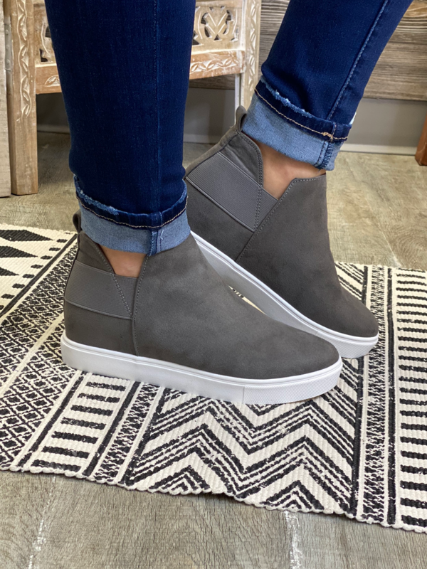 Grey Wedge Sneakers