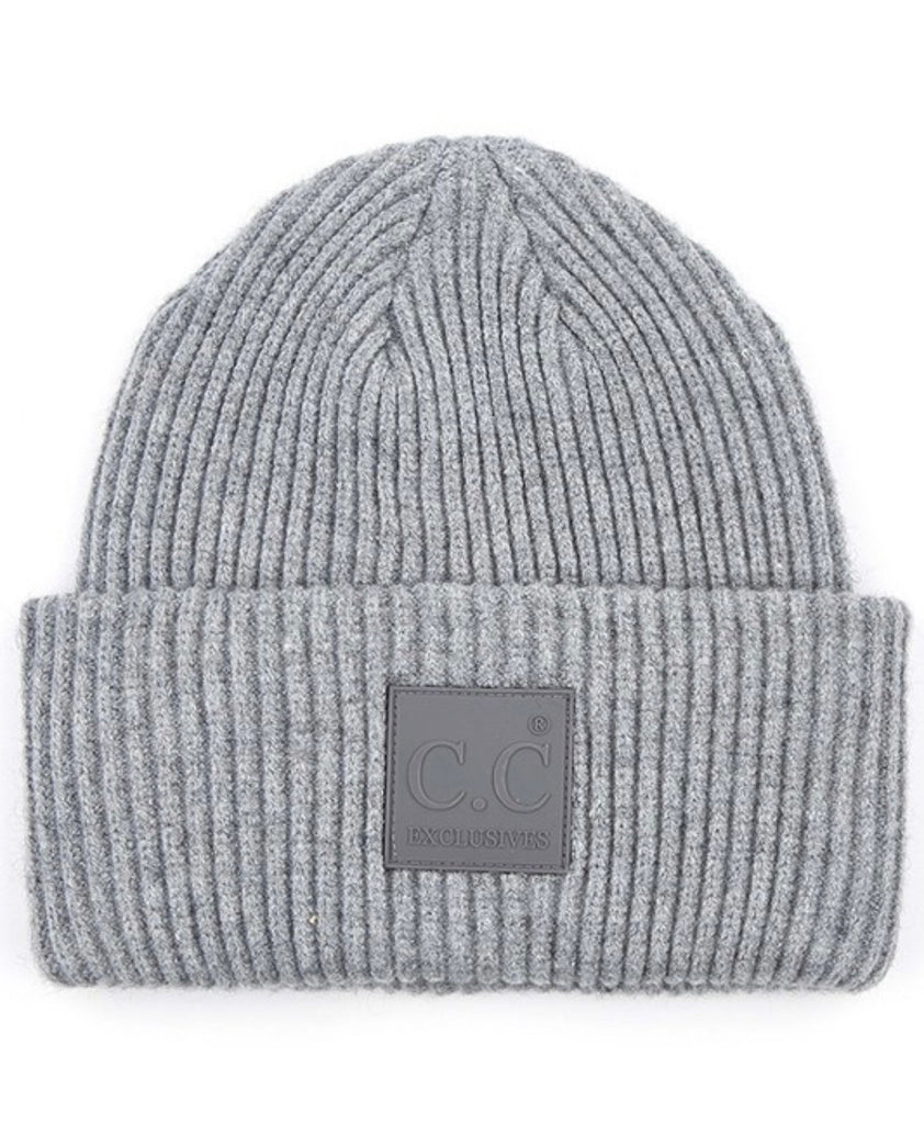 CC Solid Ribbed Knit Beanie with CC Rubber Patch (Multiple Colors)