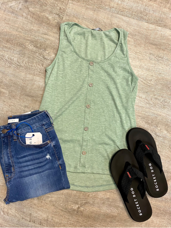 Dusty Green Button Down Front Tank