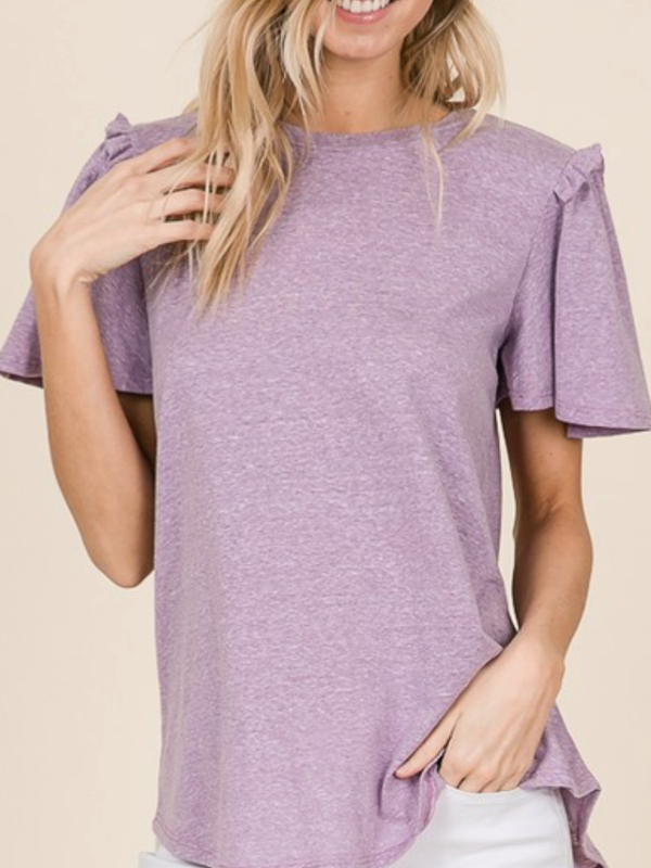 Lavender Tee with Flounce Sleeves Curvy