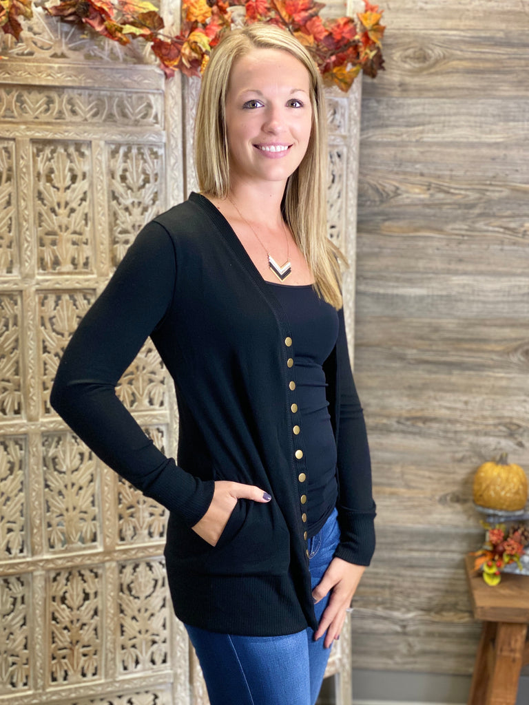 Snap Front Cardigan with Side Pockets - Black