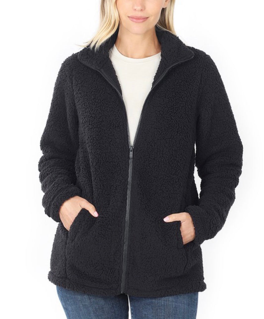 Soft Sherpa Zipper Front Jacket - Black