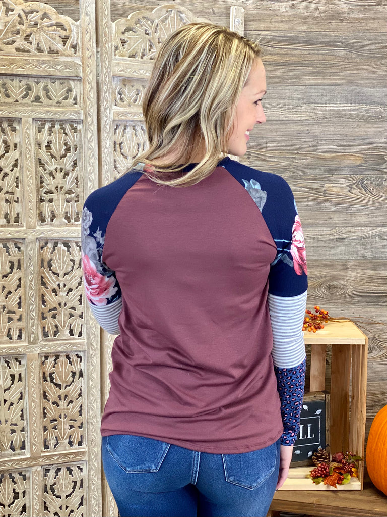 Red Brown Colorblock Long Sleeve Top
