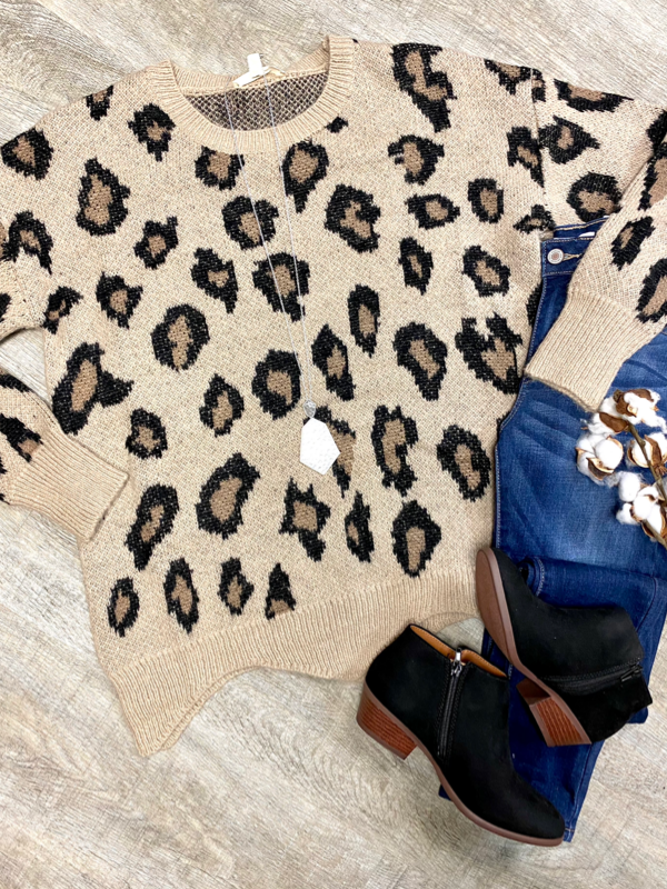 Taupe Animal Pattern Sweater