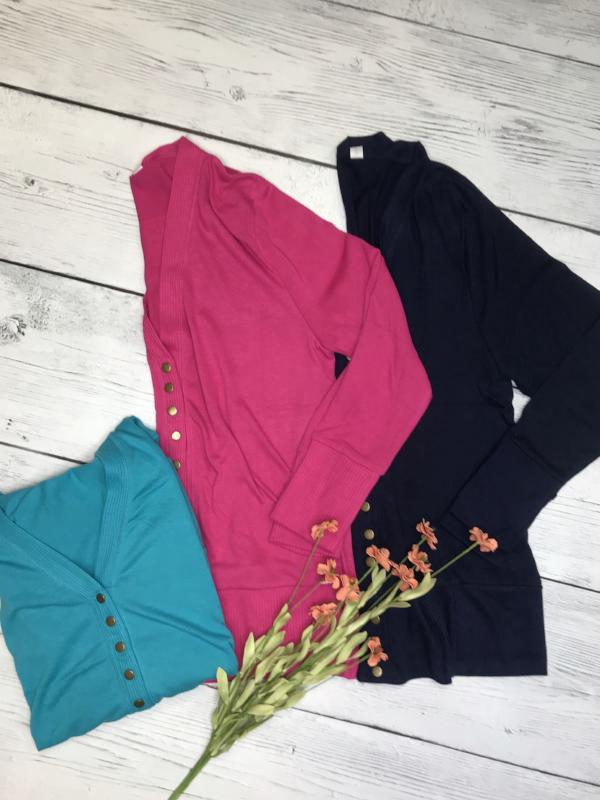 Snap Button Cardigan (Curvy - 3 Colors)