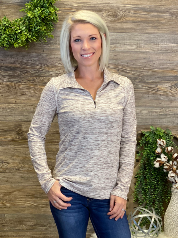 Ivory & Brown Front Zip Pullover