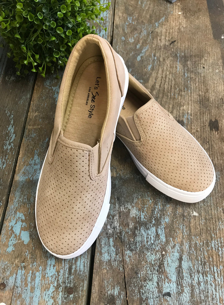 Beige Slip On Sneakers