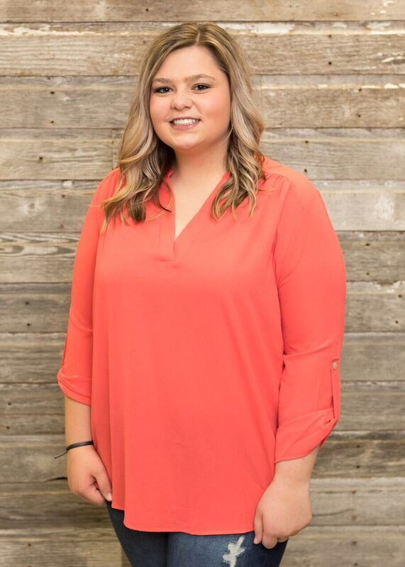 Coral Button Sleeve Top