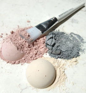 3 different types of clay masks and mask brush