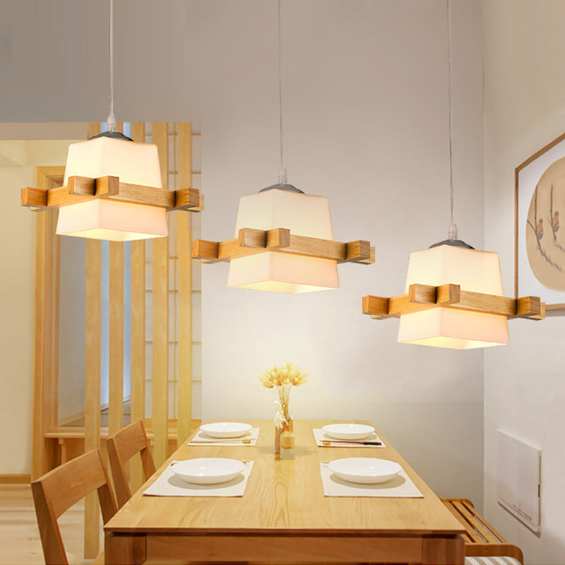 Adjustable Pendant Lights For Dining Modern Wood Hanging Lamp with Grass Lampshades - ePeriodLED