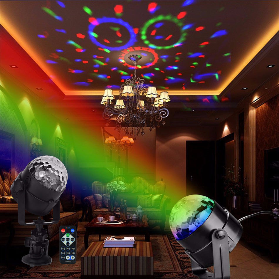 IR Remote RGB LED Crystal Magic Rotating Ball Stage Light Colorful - ePeriod Led Lighting Store