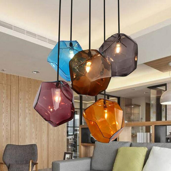 Stone glass pendant lights colorful indoor lighting G4 LED light Fixture - ePeriod Led Lighting Store