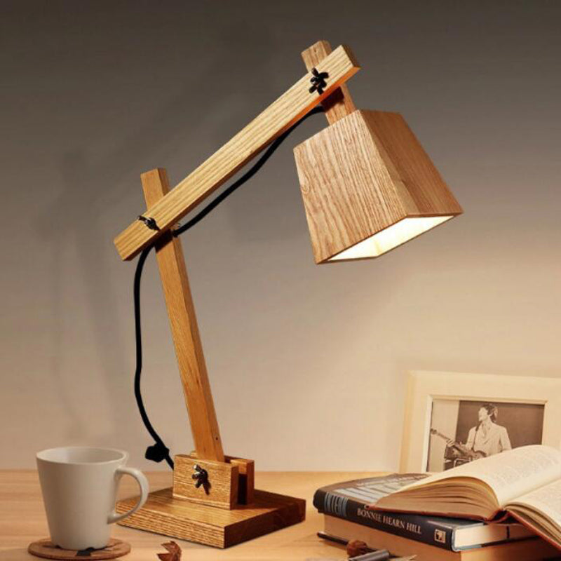 Modern Fold Wood Table Lamp E27 AC110V-240V