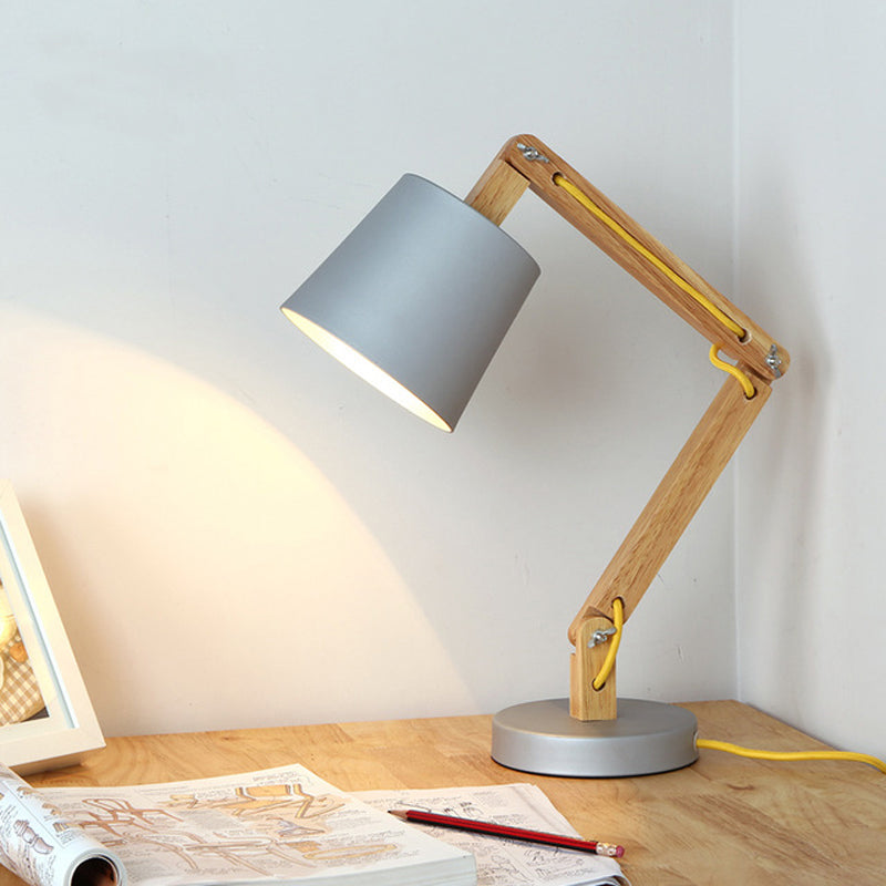 Wooden led Table Lamp with Aluminium alloy Lampshade