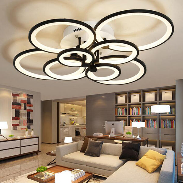 Ceiling Lights Modern Ultra-thin Round Transparent Acrylic Led Rose Shape Cool White Ceiling Light Remote For Living Room Lighting Fixture Non-Ironing