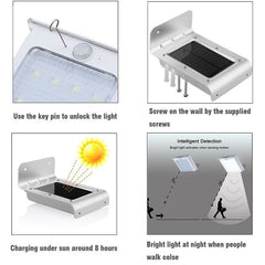 LED Soalr Light 16LEDs Outdoor Wireless Powered PIR Motion Sensor - ePeriod Led Lighting Store