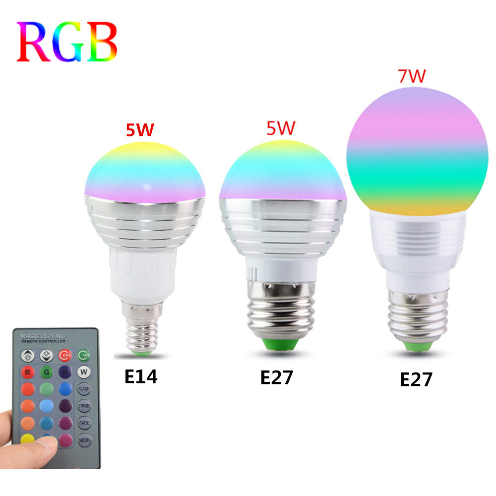 5W Crystal Lamp+IR Remote Control E27 Bulb RGB Color Changing LED