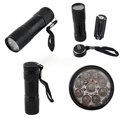 Super Mini Aluminum UV ULTRA VIOLET 9 LED FLASHLIGHT - ePeriod Led Lighting Store