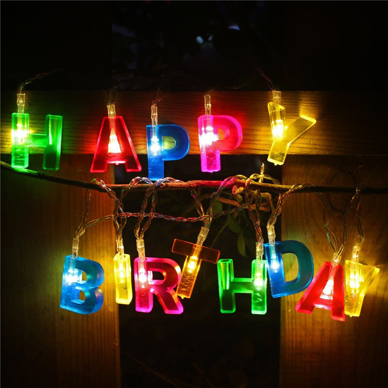 1.3M HAPPY BIRTHDAY colorful LED String Battery Operated - ePeriod Led Lighting Store