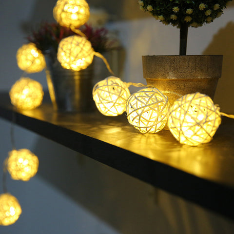 5m 20 Rattan Balls Lights Led String Holiday Christmas - ePeriodLED