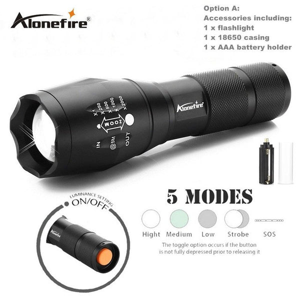 E17 XM-L T6 Waterproof Zoomable CREE LED Flashlight - ePeriodLED