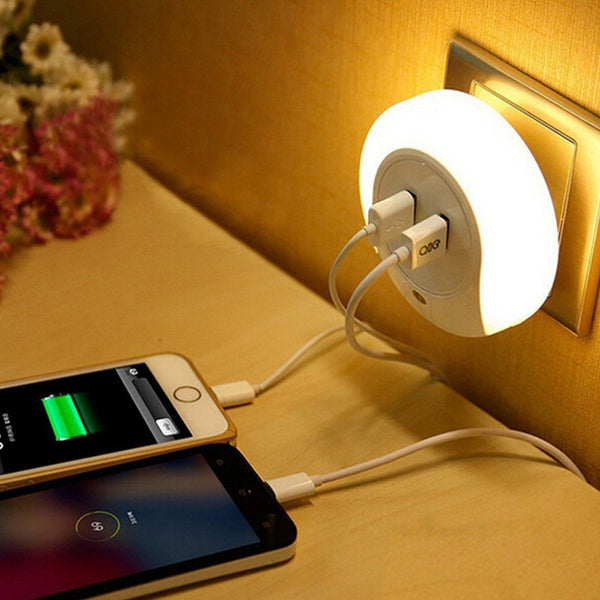 Novelty LED Night Light with 2 USB Port for Phone Charger - ePeriod Led Lighting Store