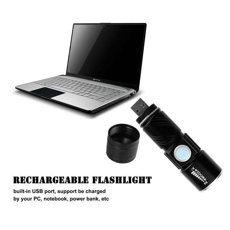 USB Handy Powerful LED Flashlight Rechargeable Torch - ePeriod Led Lighting Store