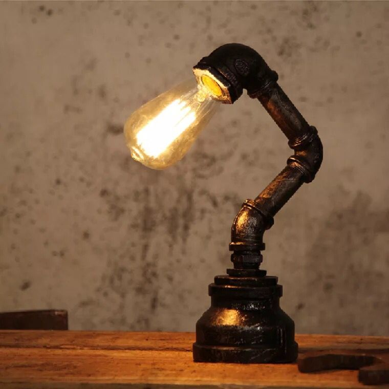 Vintage Table Lamps Creative Water Pipe Desk Lights For BarBedroom - Vintage table lamps for bedroom