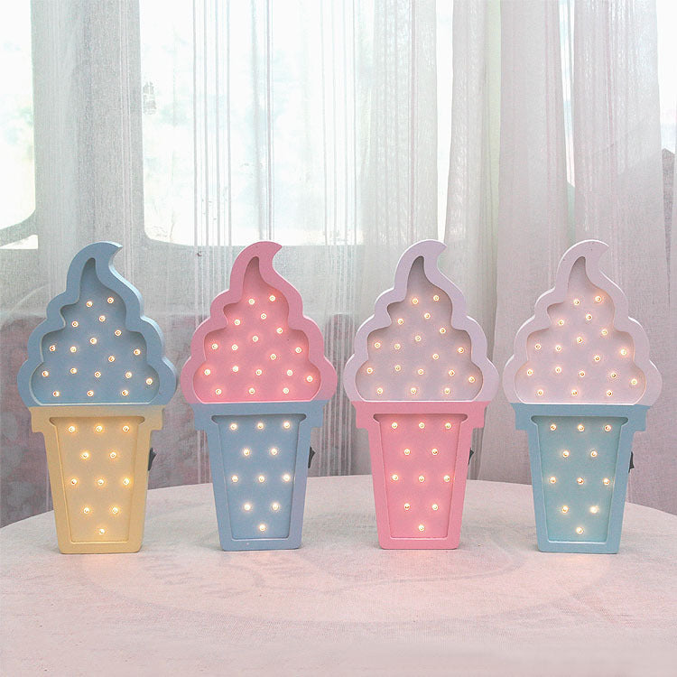 Wooden ice Cream LED Night Light Baby Bedroom Night Lamp Battery Powered