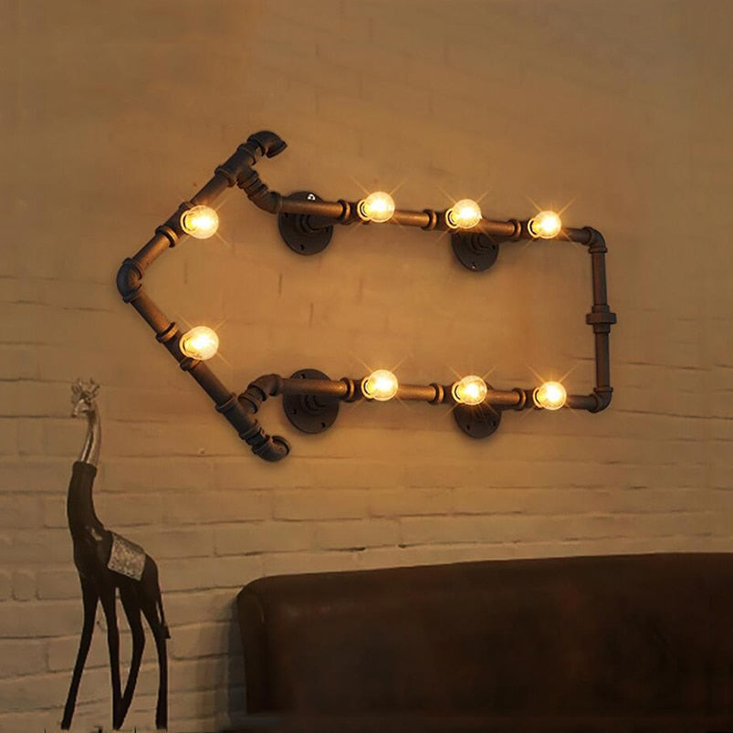 Industrial retro loft iron water pipe light decorative wall lamp