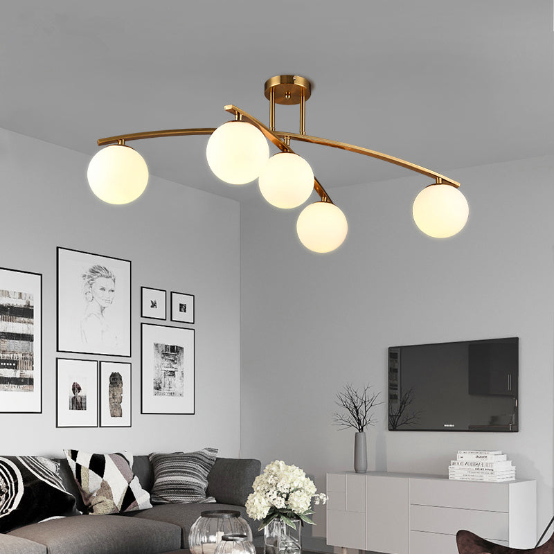 LED Post-modern Simple Nordic Iron Crafts Glass Living Room ceiling Light - ePeriod Led Lighting Store