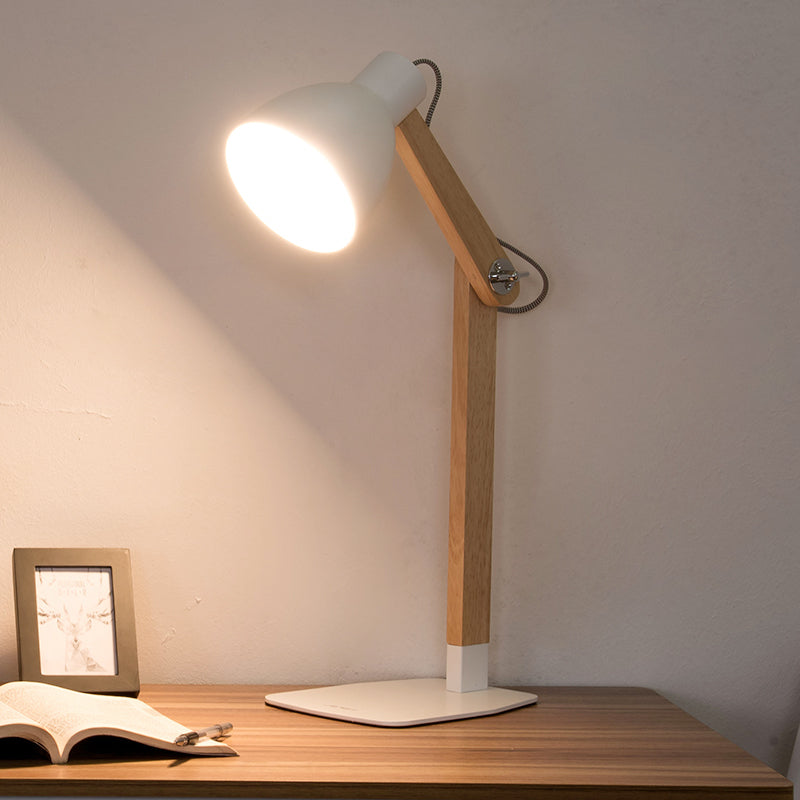 Wooden Table lamp with Iron Lampshade Base