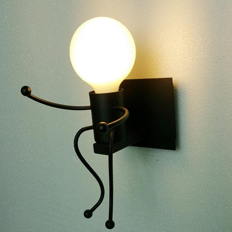 E27 Modern Metal LED Wall Light Cartoon Robot Sconce Lighting Lamp