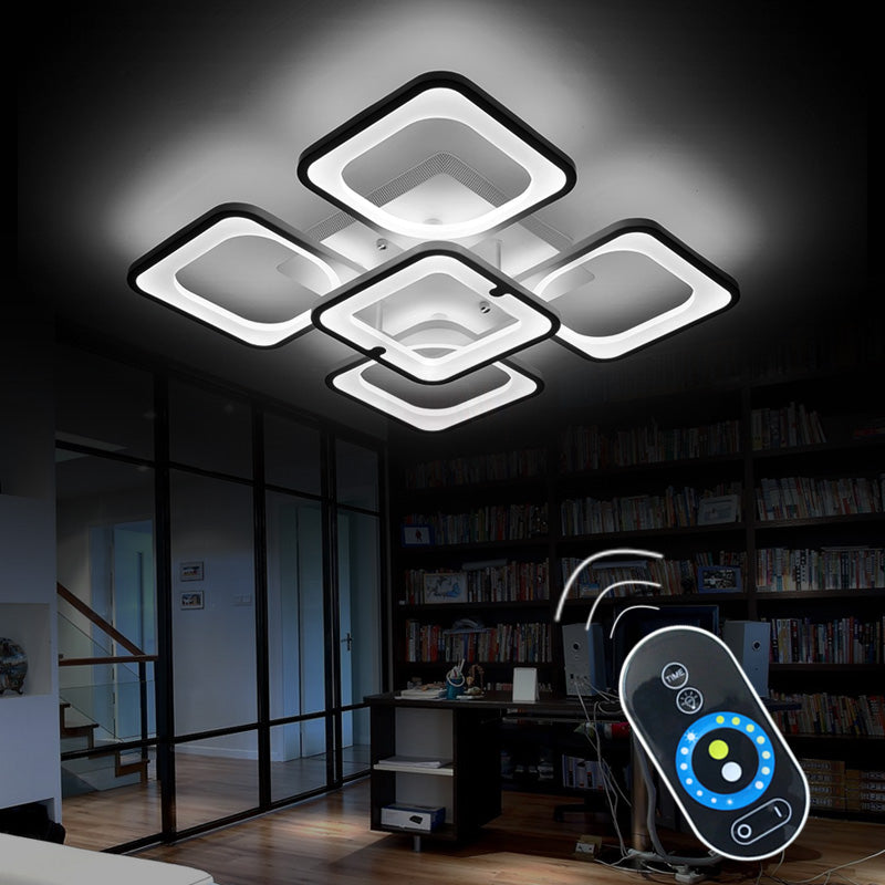 Remote LED Ceiling Lights Fixture For Bedroom Dining Room Acrylic Lampshade - ePeriod Led Lighting Store