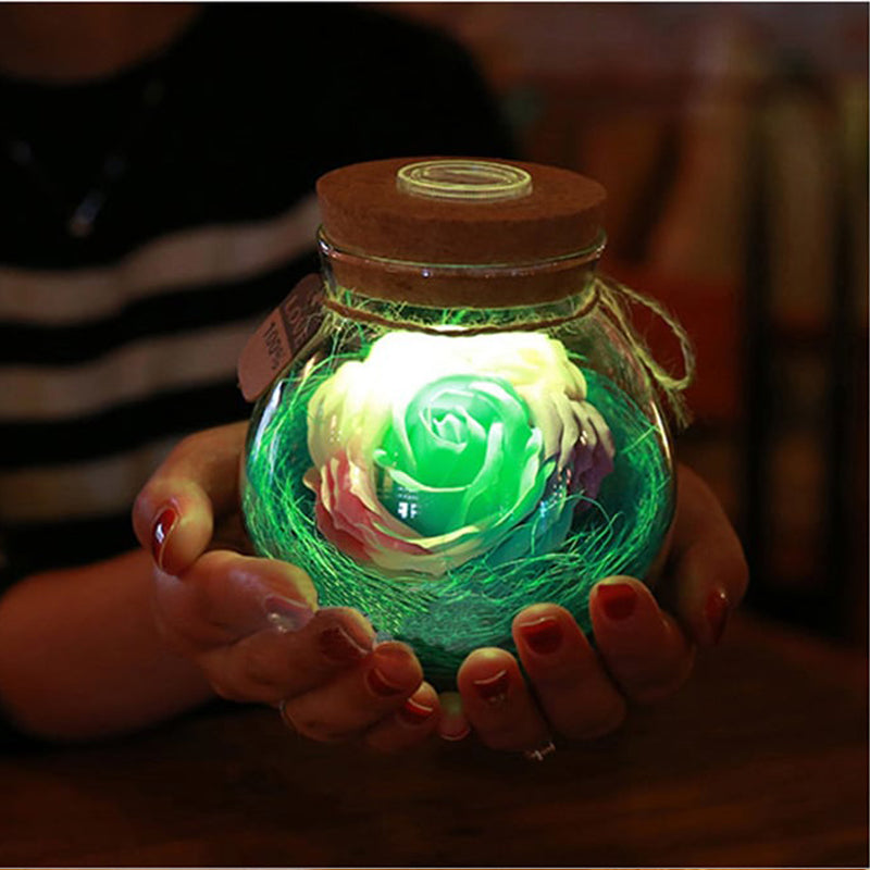 Flower Bottle Creative Romantic Rose RGB Dimmer Night Light