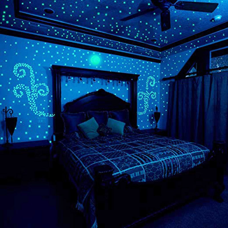 100pcs/set Glow In the Dark Stars Luminous Stickers night light