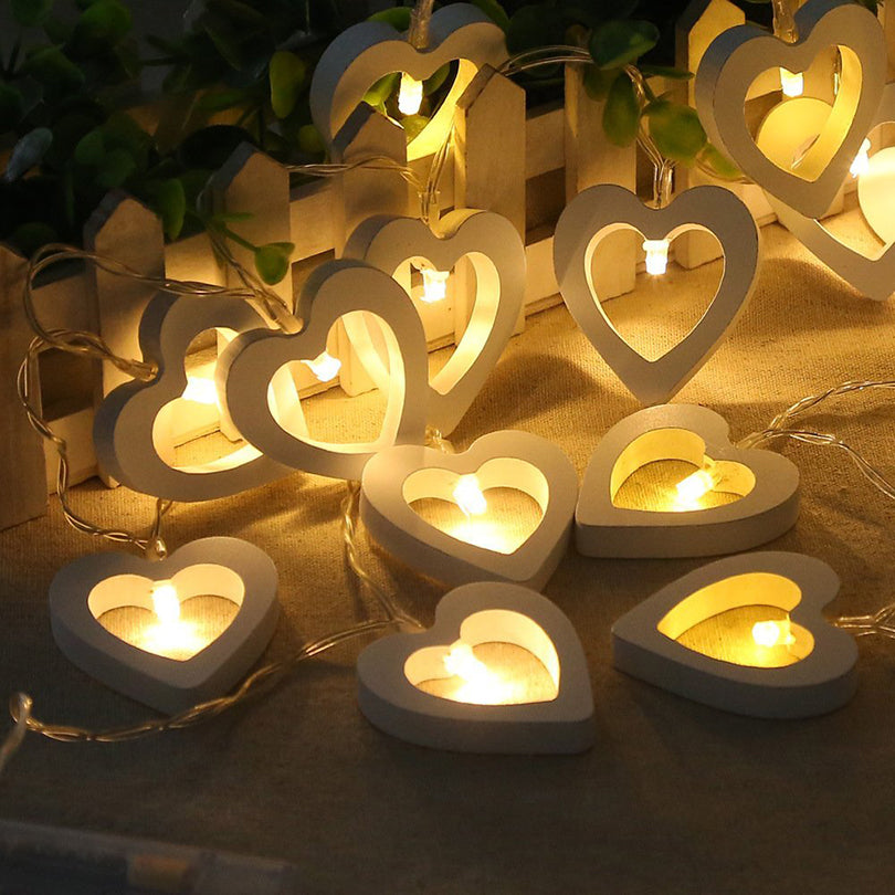 Romantic Wooden Heart LED String Lights for Christmas Decor