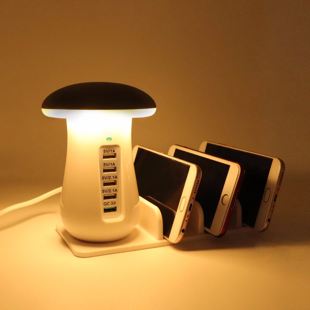 LED Mushroom Touch Switch Reading Desk Light 5 Port Adapter Phone Quick Charger